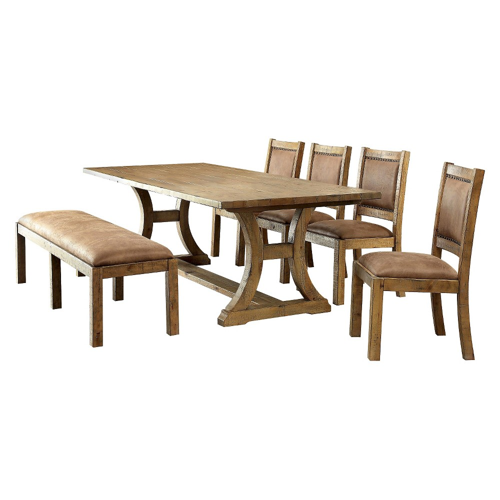 6pc Tomasina Solid Pine Wood Dining Set Rustic Pine - Sun & Pine