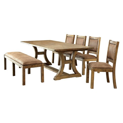 6pc Tomasina Solid Pine Wood Dining Set Rustic Sun