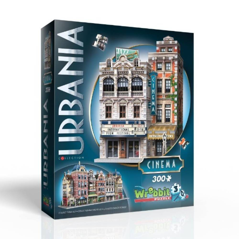 Wrebbit Urbania Collection Cinema 3D Puzzle 300pc Part of the unique and expandable Urbania Collection which reproduces charming city houses and buildings of different sizes, design and purpose you would typically find on the main street of an urban township. The idea is to recreate the idyllic urban living environment you could see yourself strolling about every day, and with the collectible and combinable 3D puzzles of the Urbania Collection, you now have the blueprints. Cinema assembled dimensions: 7.5 inches L x 5.25 inches W x 11 inches H. Wrebbit 3D puzzles have snug and tight fitting foam back pieces that are easy to handle. They are the sturdiest 3D puzzles on the market. Highest quality of design and illustration. Made in Canada. Age - 10 and up. Warning: Choking Hazard -- Small parts. Not for children under 3 yrs. Gender: Unisex.