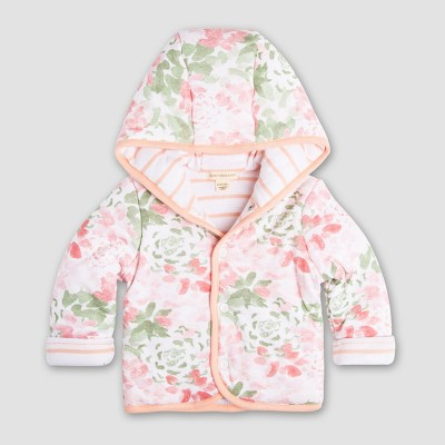 Burt's Bees Baby Girls' Organic Cotton Succulent Flowers Reversible Jacket - Light Pink 6-9M