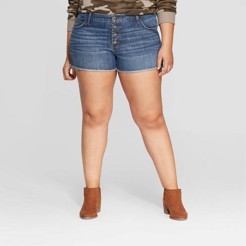 f2096e26d7d3f Women s Plus Size Mid-Rise Jean Shorts - Universal Thread™ Medium Blue