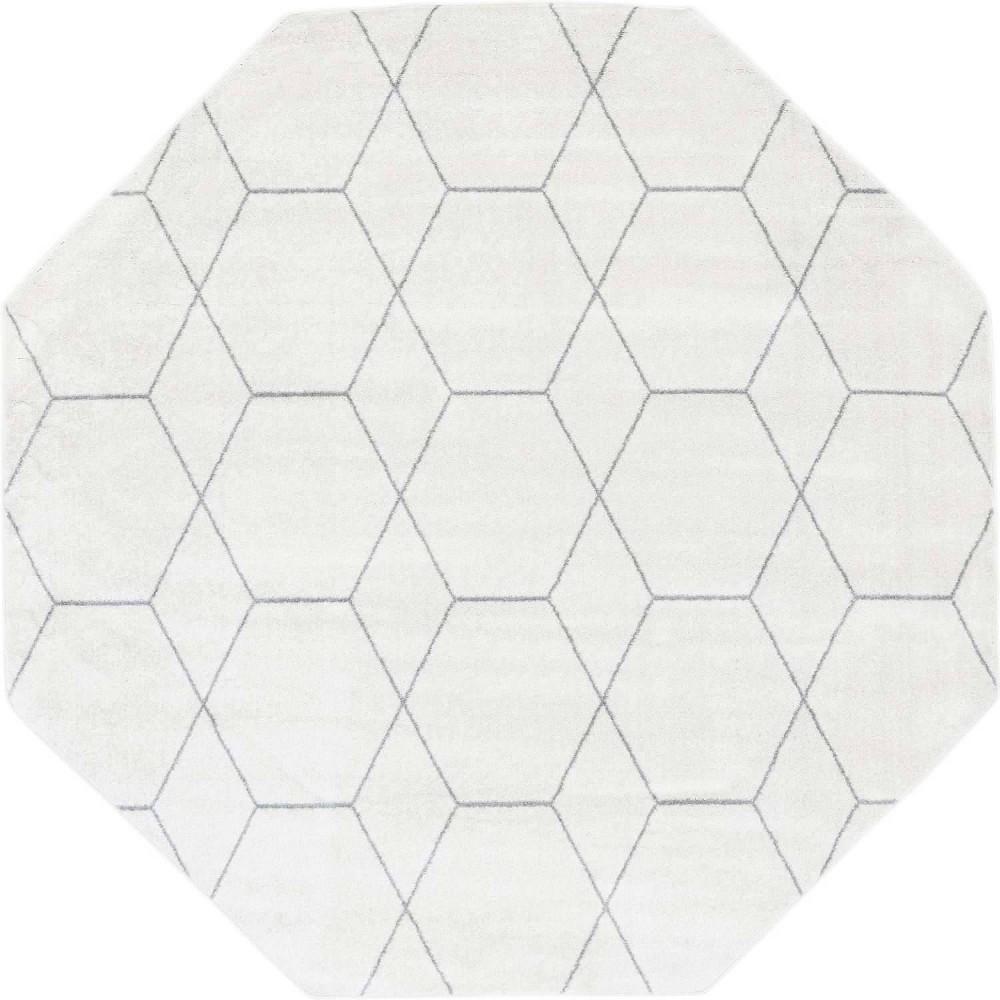 7 39 10 34 X7 39 10 34 Octagon Geometric Trellis Frieze Rug Ivory Gray Unique Loom