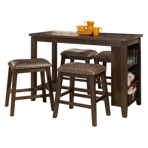 Terrific Spencer Five Piece Counter Height Dining Set Counter Height Stools Wood Dark Espresso Brown Faux Leather Hillsdale Furniture Ibusinesslaw Wood Chair Design Ideas Ibusinesslaworg