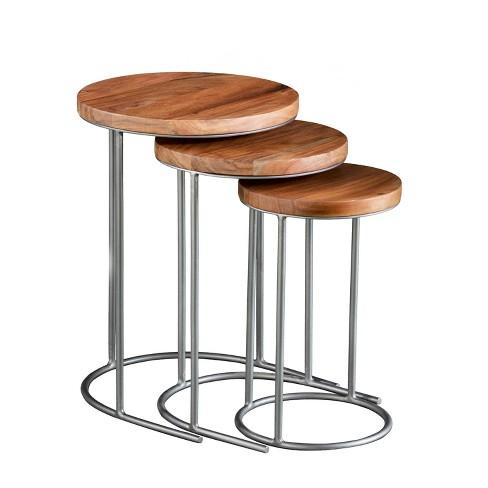 Set of 3 Talan Nesting Tables Brown - Aiden Lane - image 1 of 4