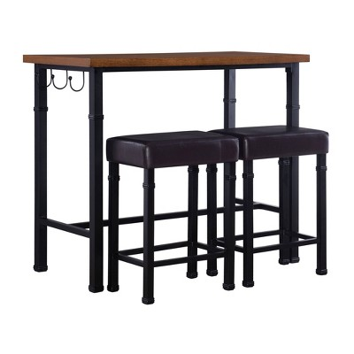 3pc Austin Pub Dining Sets Metal/Black - Linon