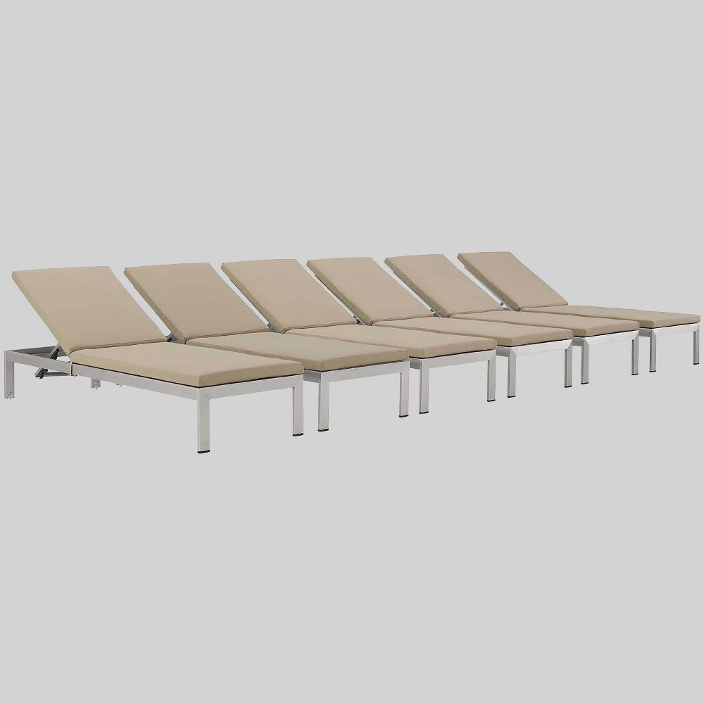 Shore 6pk Aluminum Patio Chaise Lounge with Cushions - Beige - Modway
