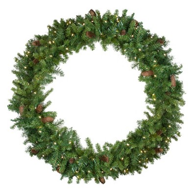 Northlight Pre-Lit LED Dakota Red Pine Artificial Christmas Wreath - 48-Inch, Warm White Lights