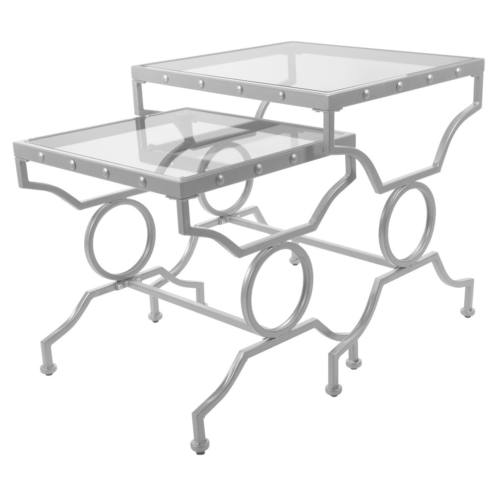 Nesting Table - 2 Piece Set - Silver, Tempered Glass - EveryRoom