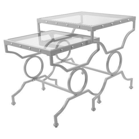 Nesting Table - 2 Piece Set - Silver, Tempered Glass - EveryRoom - image 1 of 2