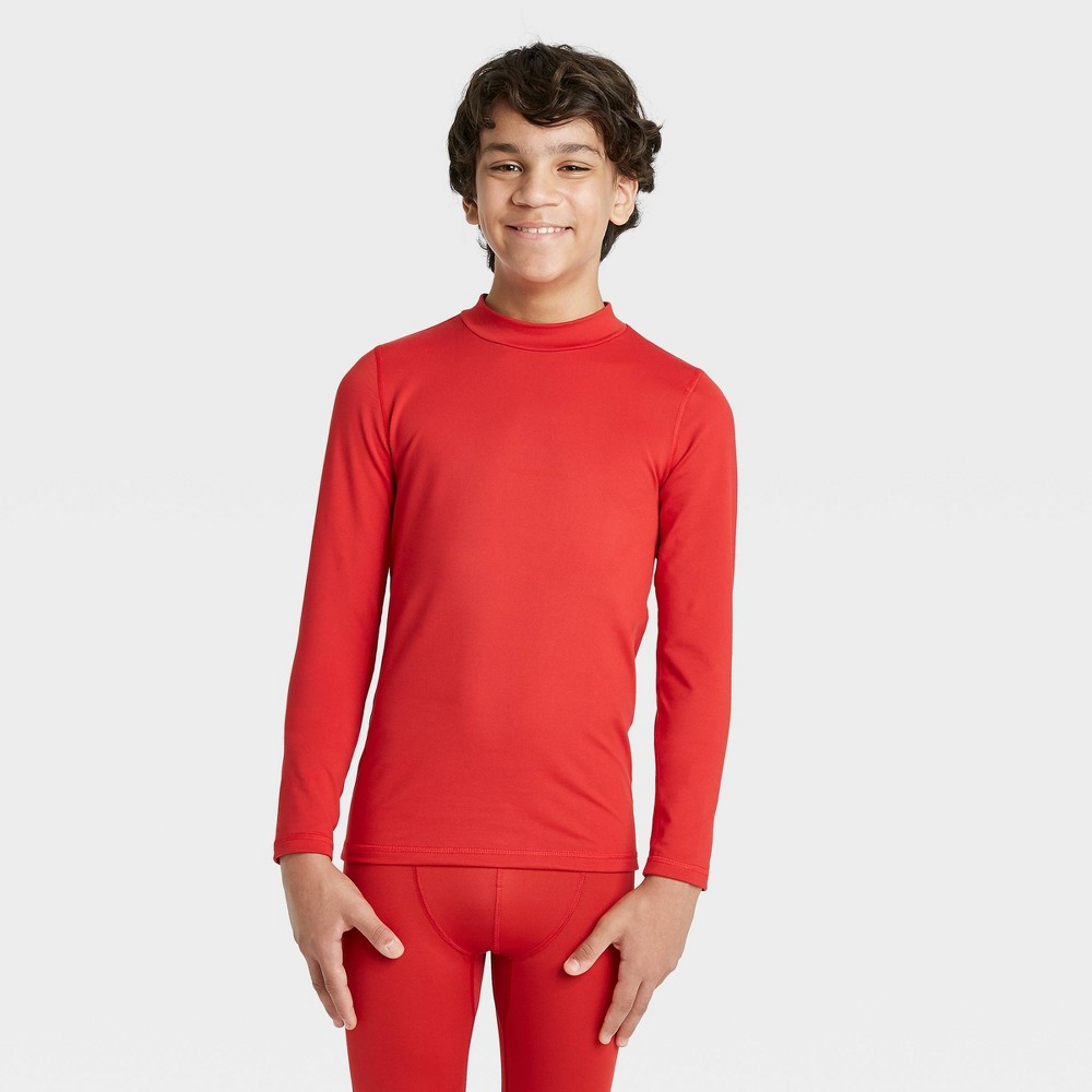 Boys 39 Long Sleeve Fitted Performance Mock Neck T Shirt All In Motion 8482 Red L