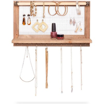 Farmlyn Creek Wooden Hanging Jewelry Organizer, Rustic Wall Display with Hooks (15.75 x 9.3 x 2.75 In)