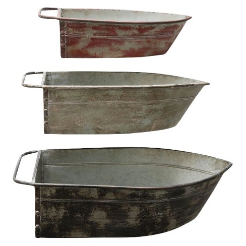 Metal Boat Shaped Planter - Set of 3 - 3R Studios - image 1 of 2
