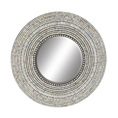 """32""""x 32"""" Large Round Coastal Shell Wall Mirror - Olivia & May"""