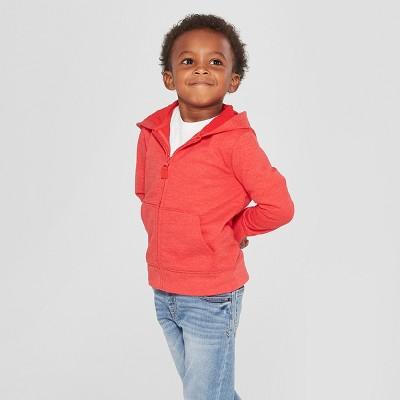 Toddler Boys' Long Sleeve Zip-Up Hoodie - Cat & Jack™ Red 3T