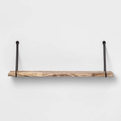 Superb Wood Wall Shelf With Hanging Wire Natural Black Threshold Gmtry Best Dining Table And Chair Ideas Images Gmtryco