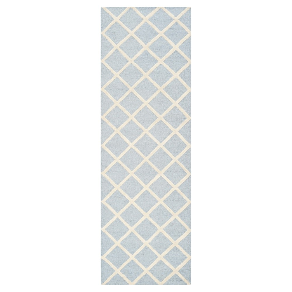2'6X12' Geometric Runner Light Blue/Ivory - Safavieh