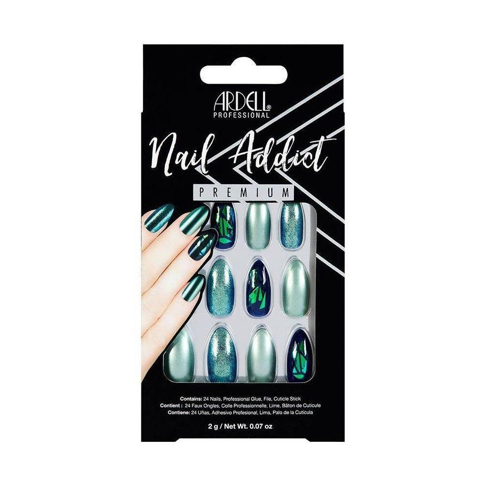 Image of Ardell Nail Addict False Nails Green Glitter Chrome - 24ct