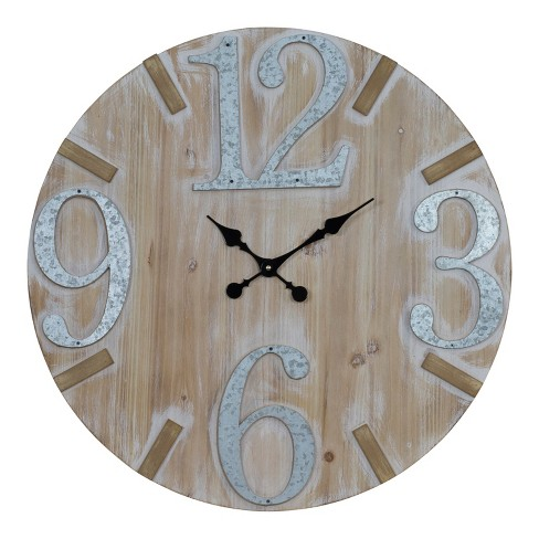 "VIP Home & Garden 27.5""x1.5""x27.5"" Wood/Metal Wall Clock 28"" Brown/Silver - image 1 of 2"
