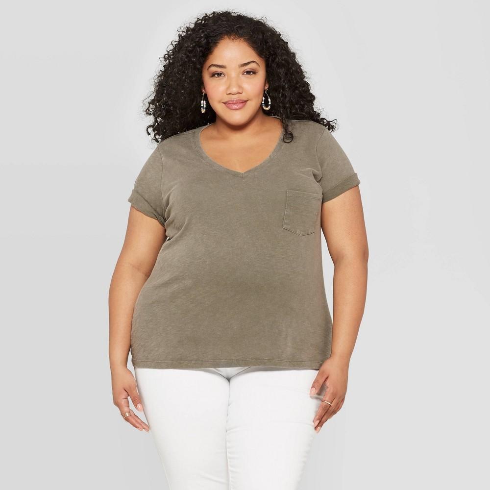 Women's Plus Size Monterey Pocket V-Neck Short Sleeve T-Shirt - Universal Thread Olive (Green) 1X