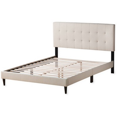 King Cara Upholstered Platform Bed with Square Tufted Headboard Cream - Brookside
