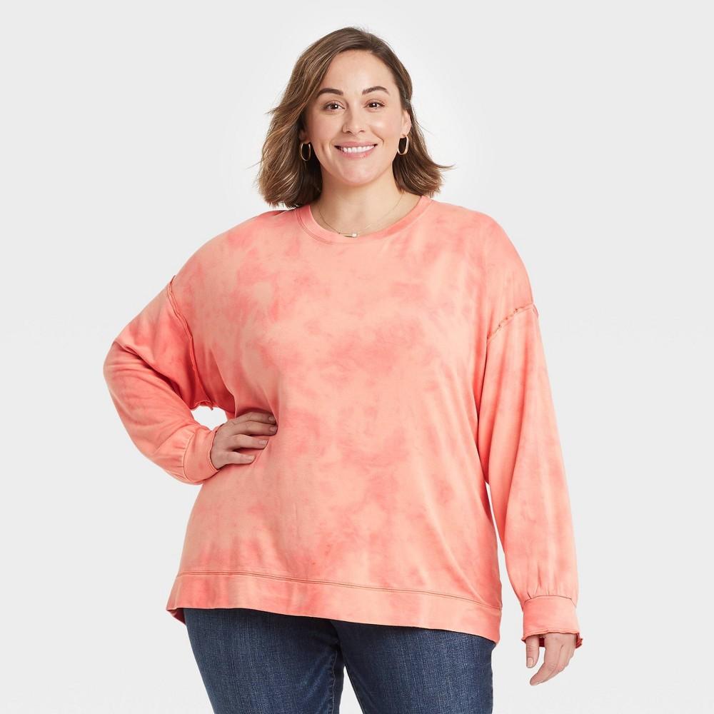 Women 39 S Plus Size Ruffle Detail Sweatshirt Knox Rose 8482 Peach 3x