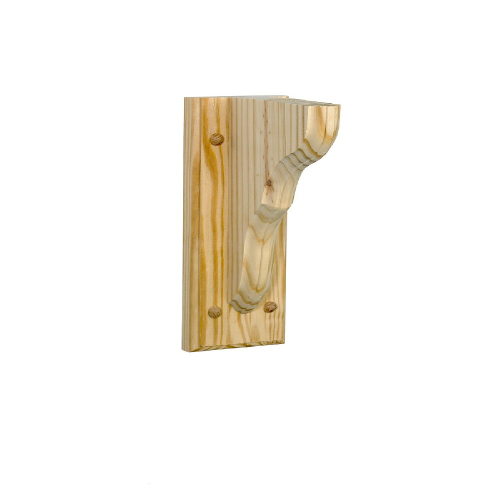 Image of Wooden Bracket on Base 6 X 9 X 2'' - Natural