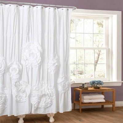 Serena Flower Texture Shower Curtain - Lush Décor