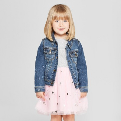 Toddler Girls' Denim Jacket - Cat & Jack™ Light Blue 12M