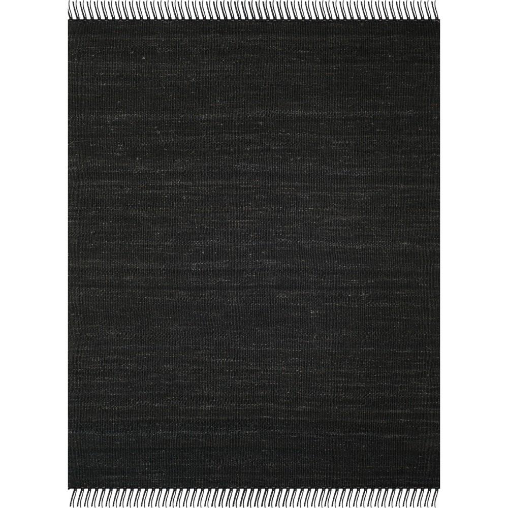 8'X10' Solid Woven Area Rug Black - Safavieh