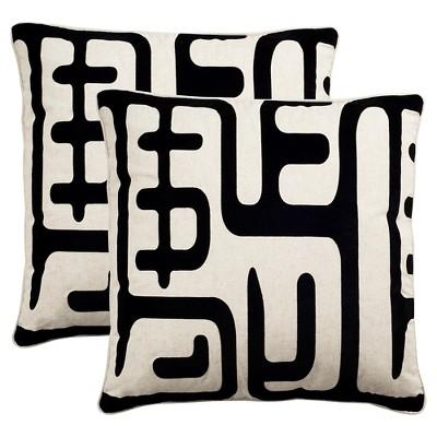 "2pk 24""x24"" Maize Sqaure Throw Pillow Black - Safavieh"