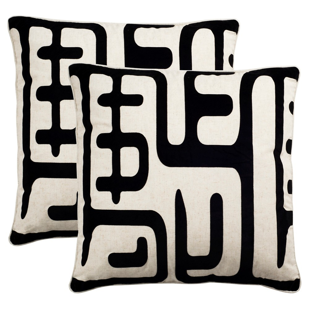 Discounts 2pk 24x24 Maize Sqaure Throw Pillow Black - Safavieh