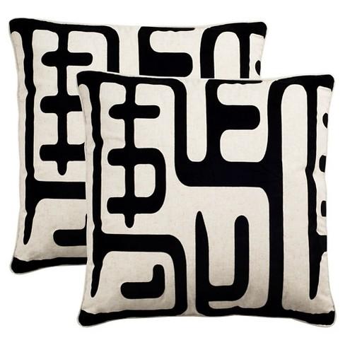 Black White Maize Throw Pillows 2 Pack 24 X24 Safavieh