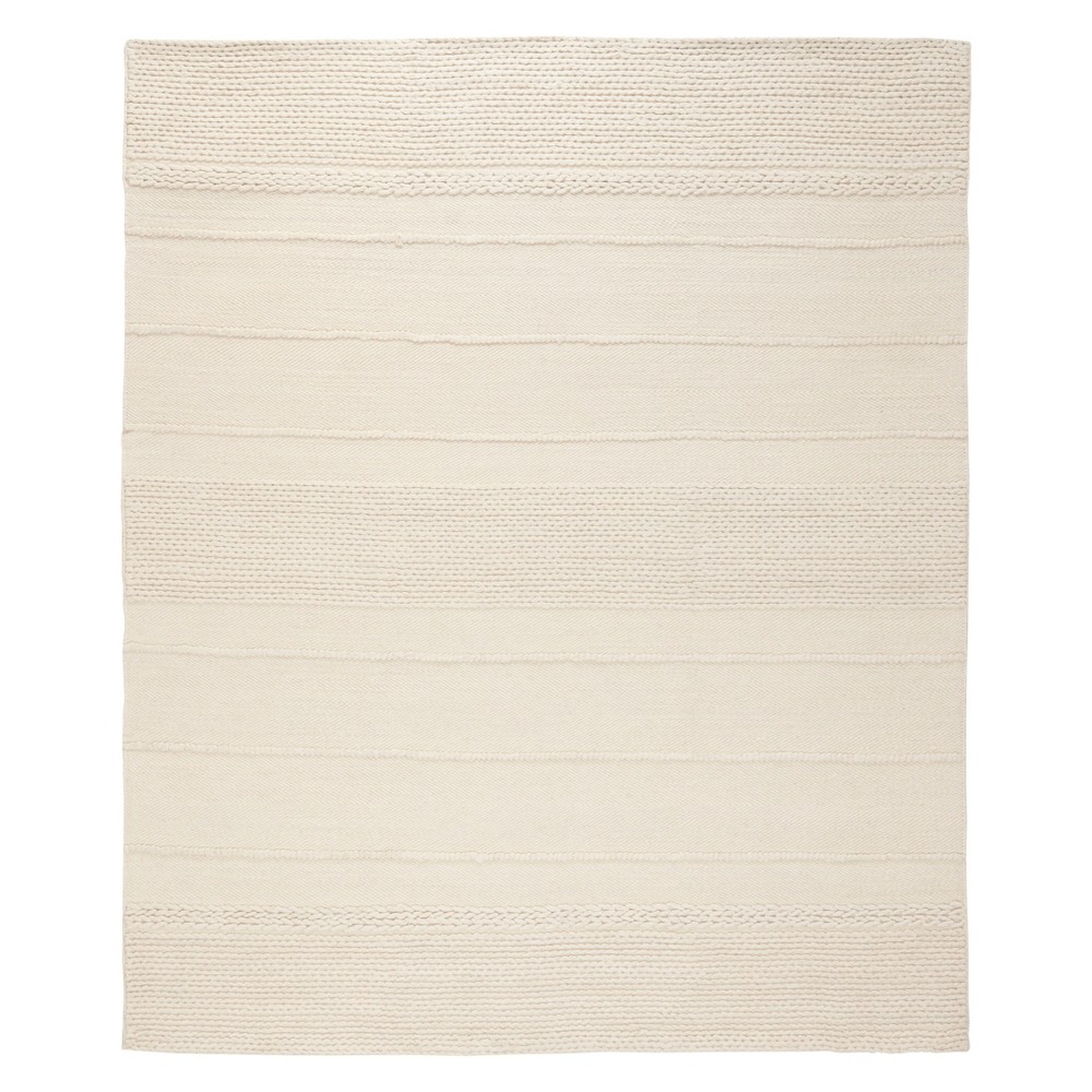 8'X10' Stripe Woven Area Rug Natural - Safavieh, White