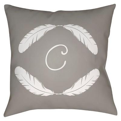 Gray Quill Monogram C Throw Pillow 18 x18  - Surya