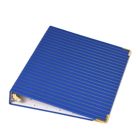 Russell+Hazel Striped Mini 3 Ring Binder Cobalt and Gold Foil - image 1 of 4