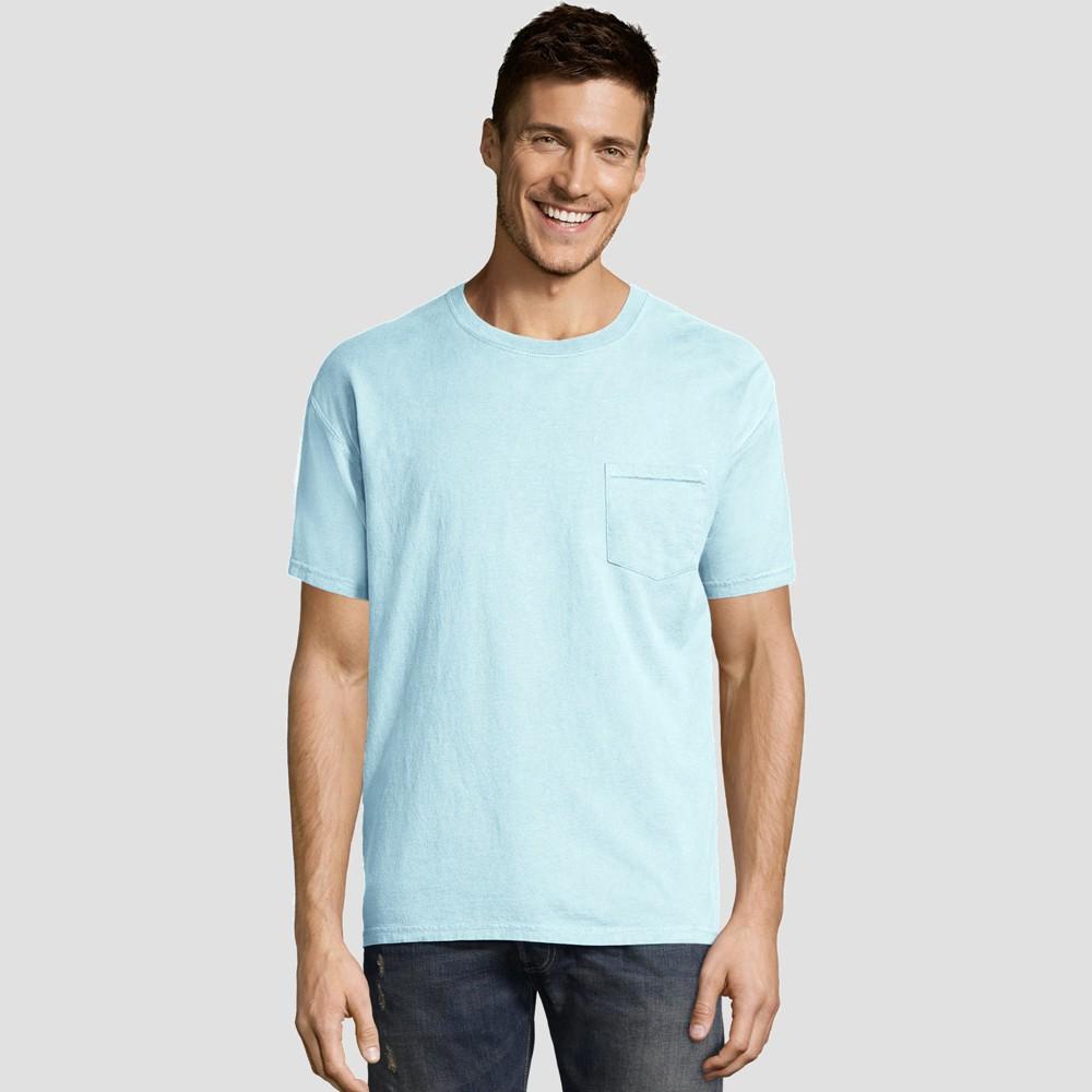 Hanes Men's Short Sleeve 1901 Garment Dyed Pocket T-Shirt - Blue M