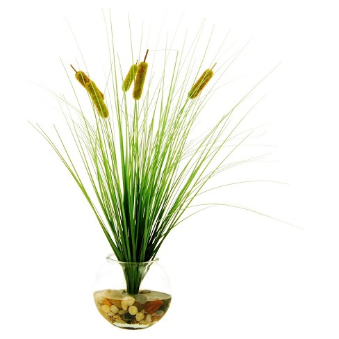 artificial cattail plant green 23 lcg florals target