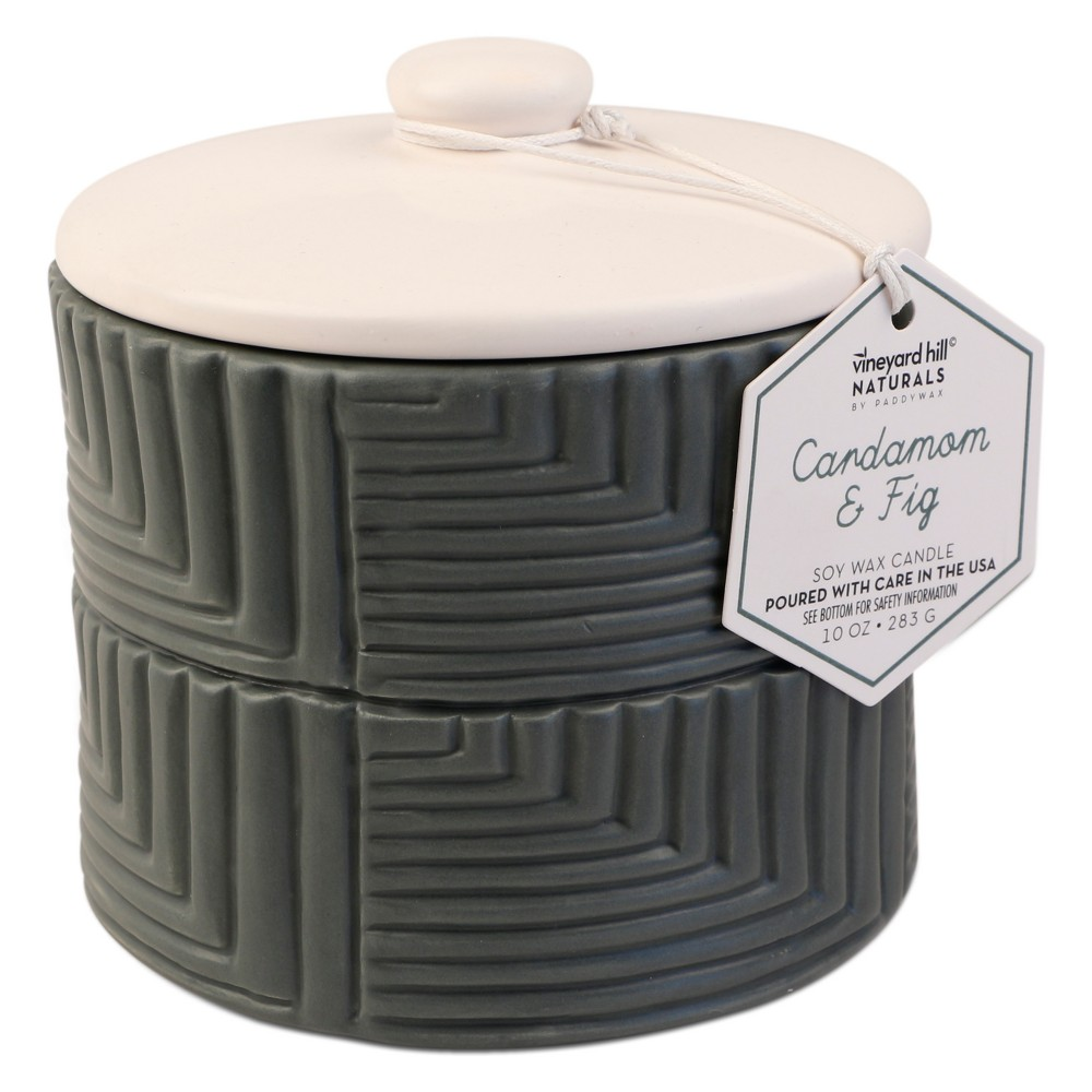 10oz Ceramic Groove Container Candle Cardamom & Fig - Vineyard Hill Naturals by Paddywax, Green