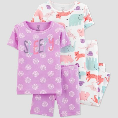 Baby Girls' 4pc Sleepy Animals Pajama Set - Just One You® made by carter's Purple 12M