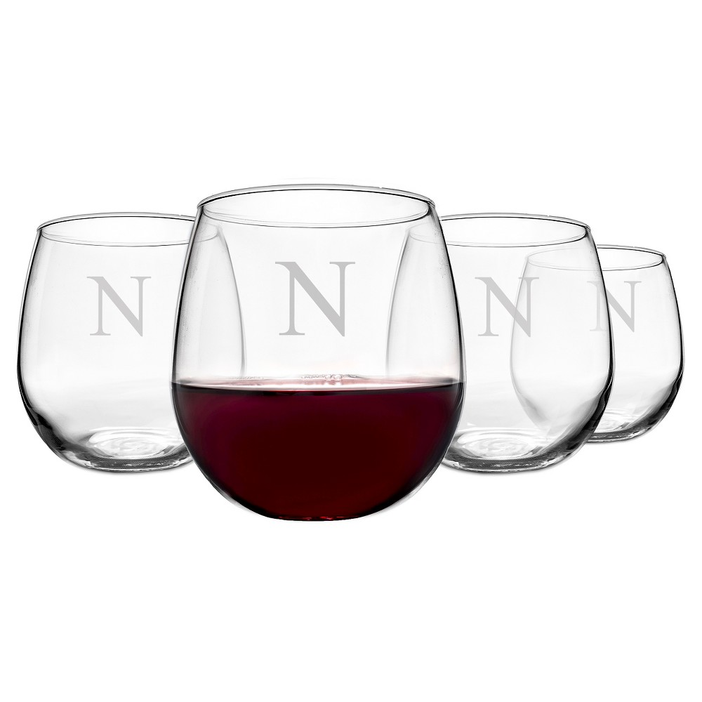 Cathy's Concepts 16.75 oz. Personalized Stemless Red Wine Glasses (Set of 4)-N, Clear
