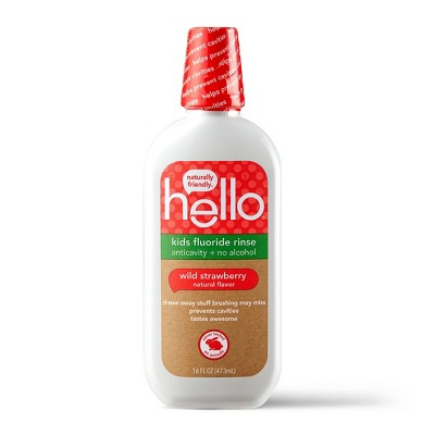 hello Kids Natural Wild Strawberry Anticavity Fluoride Rinse, Alcohol Free and Vegan, 473ml