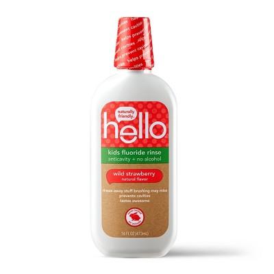 hello Kids Natural Wild Strawberry Anticavity Fluoride Rinse, Alcohol Free and Vegan, 473ml