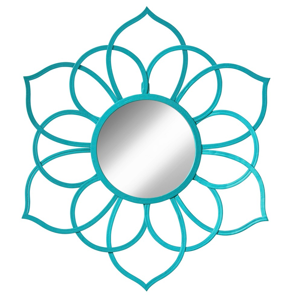 Image of Brienne Decorative Wall Mirror 24x21 - Kate & Laurel, Turquoise