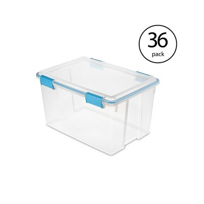 Sterilite 54 Quart Gasket Box Set in Clear with Blue Latches (36 Pack)