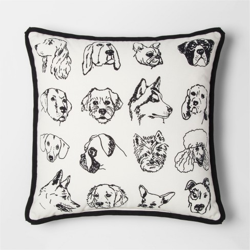 Black & White Dog Square Throw Pillow  - Project 62™ - image 1 of 2