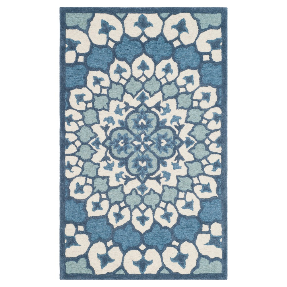 Ivory/Blue Medallion Tufted Accent Rug 3'X5' - Safavieh