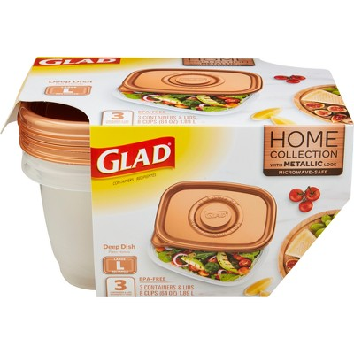 Glad Home Collection Deep Dish Food Storage Containers - 64oz - 3ct