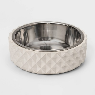 Concrete Base With Stainless Steel Dog & Cat Bowl - 4cup - Boots & Barkley™