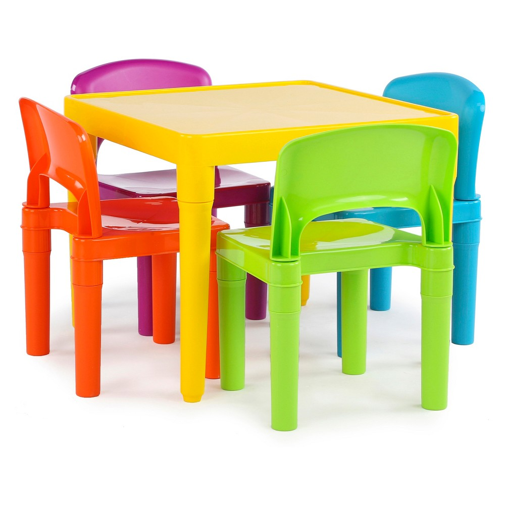 Plastic Table and 4 Chairs - Primary - Tot Tutors, Multi-Colored