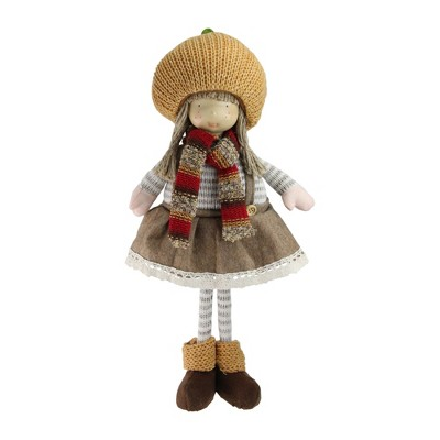 "Northlight 15"" Standing Autumn Girl Gnome with Scarf and Pumpkin Hat Thanksgiving Figure"